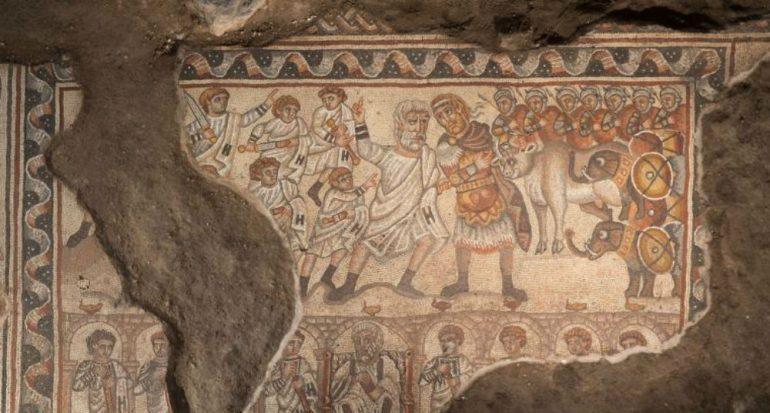 Detalles de un mosaico del siglo V d.C.