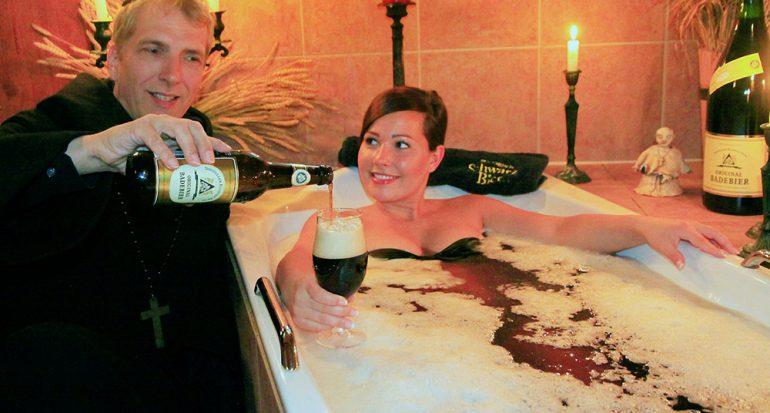 El exótico baño de cerveza