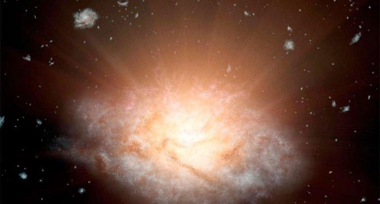 La galaxia más brillante tiene la luz de 300 billones de soles