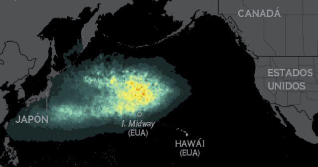 La ruta de los desechos del tsunami