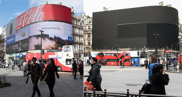 Piccadilly Circus apagó sus luces